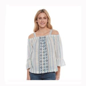 Tops - women's striped off the shoulder top XL boho NWT